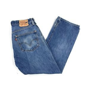 Levi's Distressed 501 Blue Denim Jeans